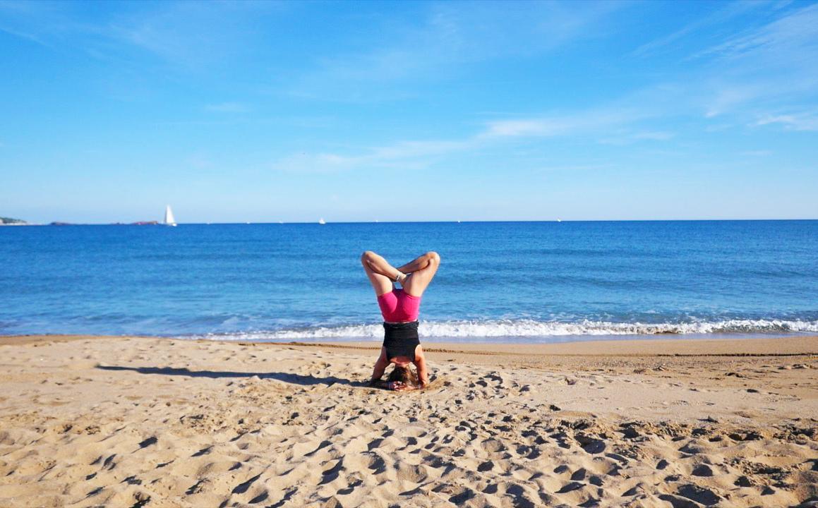 claudia clement yoga headstand in padmasana